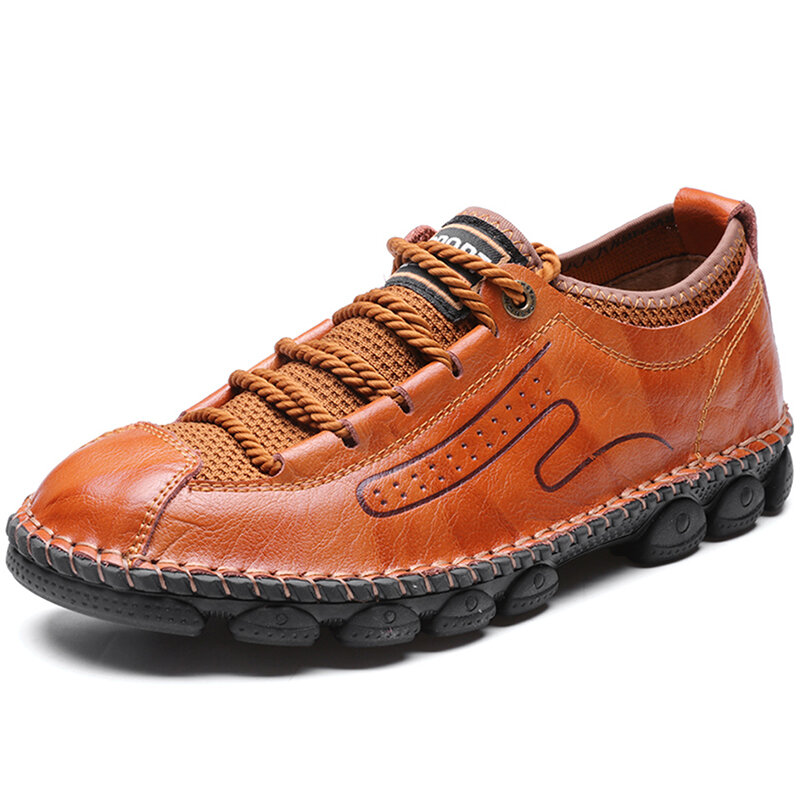 Menico Men Cow Leather Fabric Splicing Hand Stitching Non Slip Casual Shoes