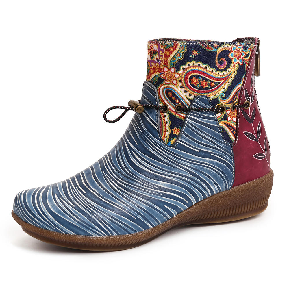 SOCOFY Retro Leather Blue Paisley Pattern Genuine Leather Splicing Soft Flat Ankle Boots