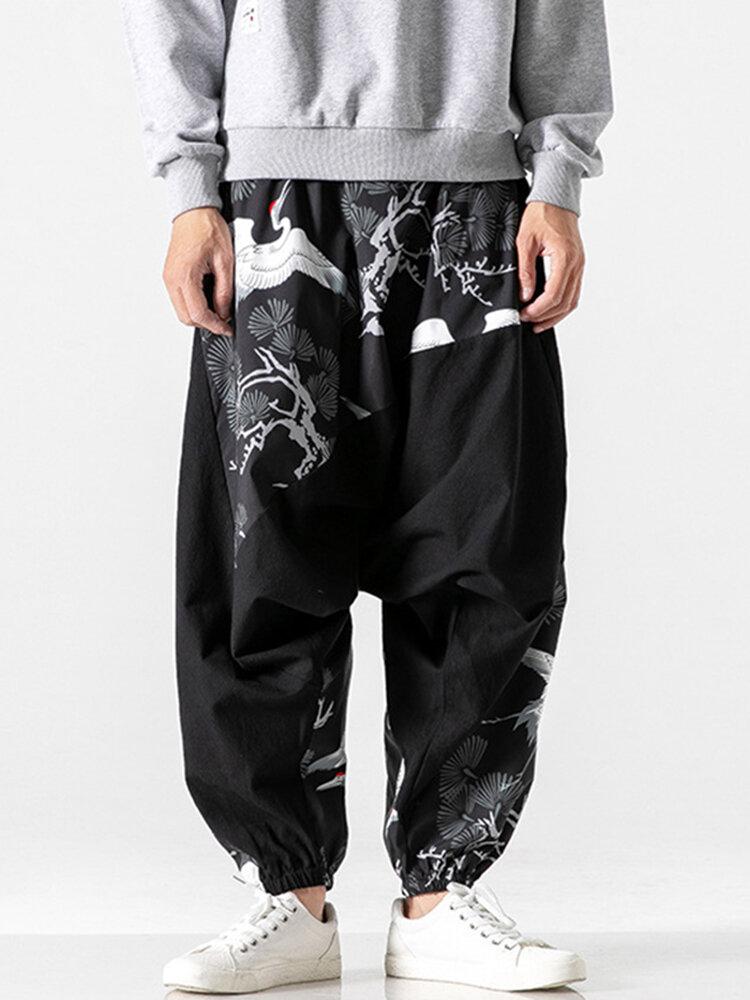 Mens Chinese Style White Crane Printed Loose Elastic Waist Casual Harem Pants