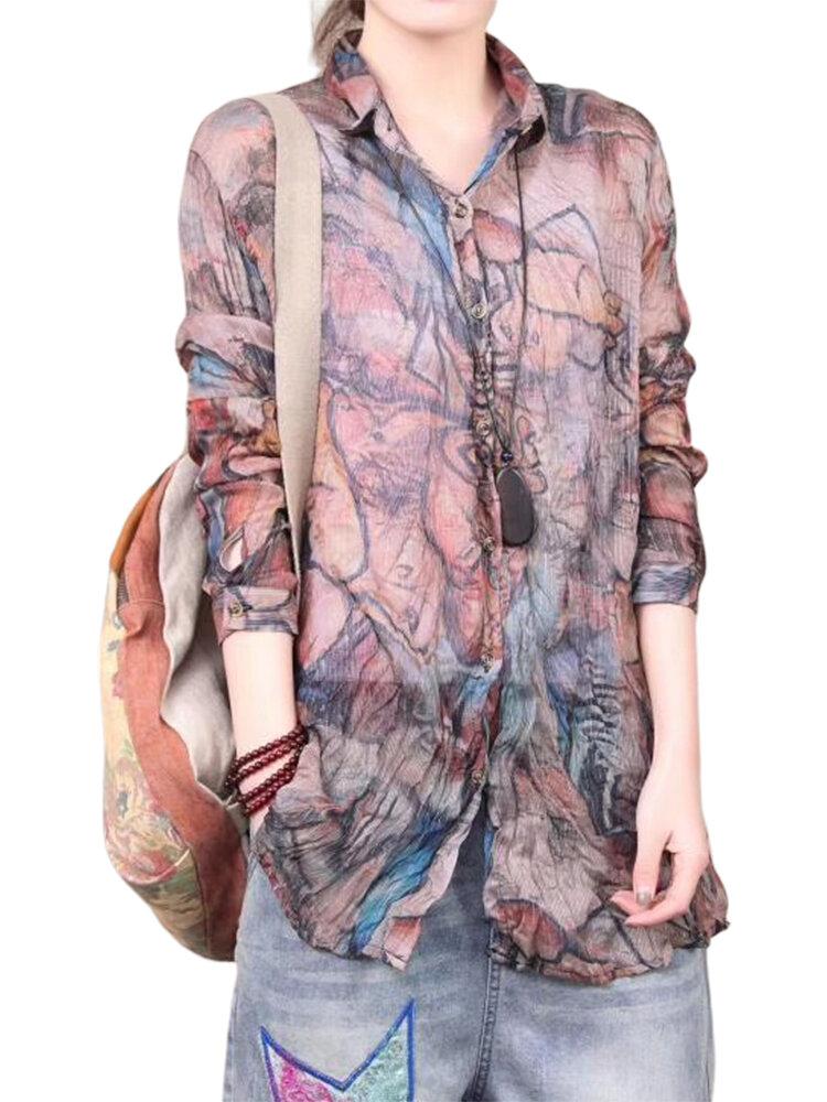 Chemise décontractée à manches longues imprimée tie-dye pour femme