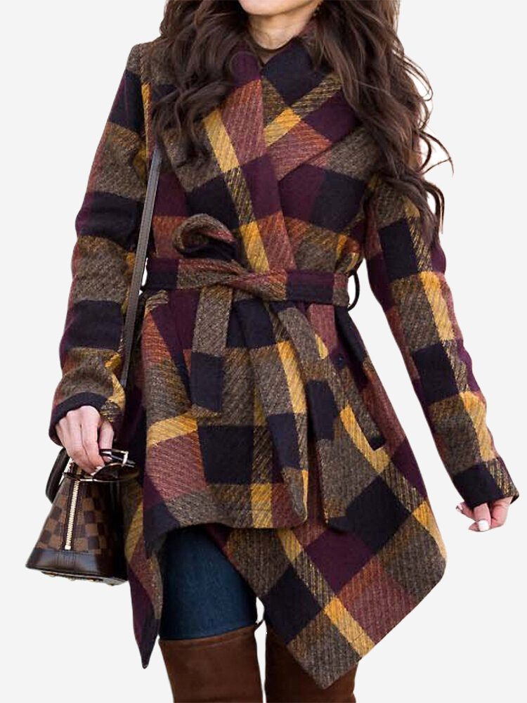 Casual Plaid Turn-down Collar Loose Long Sleeve Winter Coat With Belts