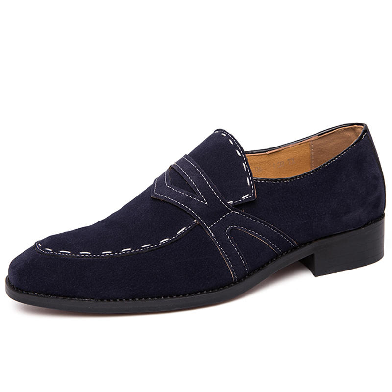 Men Hand Stitching Suede Non Slip Large Size Slip-ons Formal Shoes