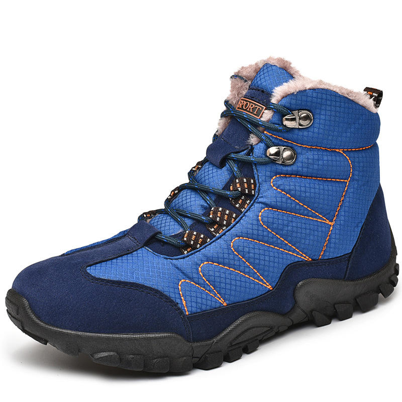 Men Outdoor Slip Resistant Warm Lining Lace Up Climbing Hiking Boots