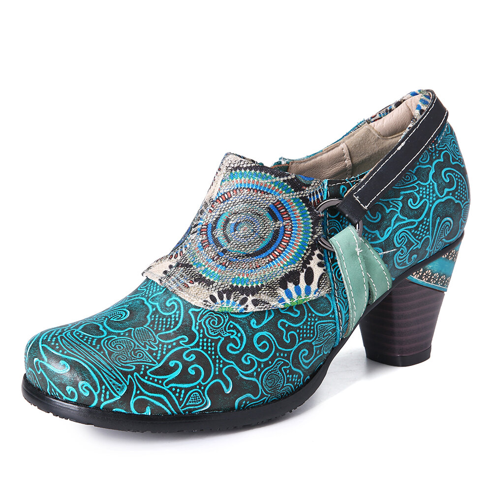 SOCOFY Retro Cloud Pattern Textured Cloth Folkways Genuine Leather Zipper Pumps