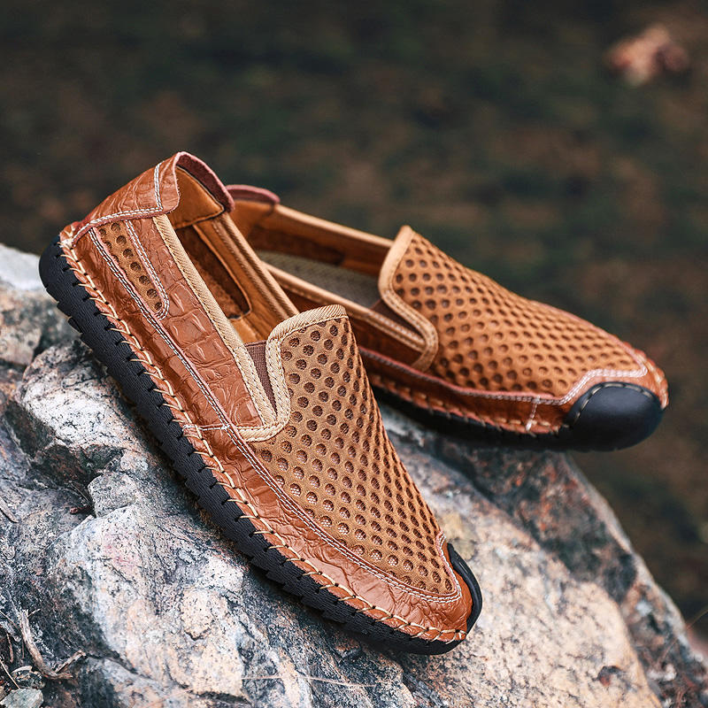 Men Rubber Cap Toe Protective Hand Stitching Mesh Water Friendly Slip On Shoes