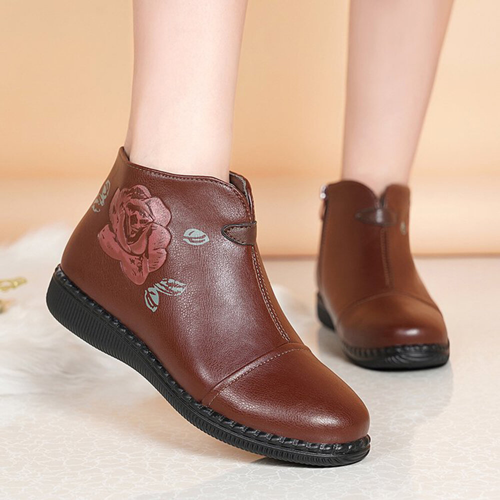 Microfibric Leather Flower Printing Lace Up Casual Ankle Boots