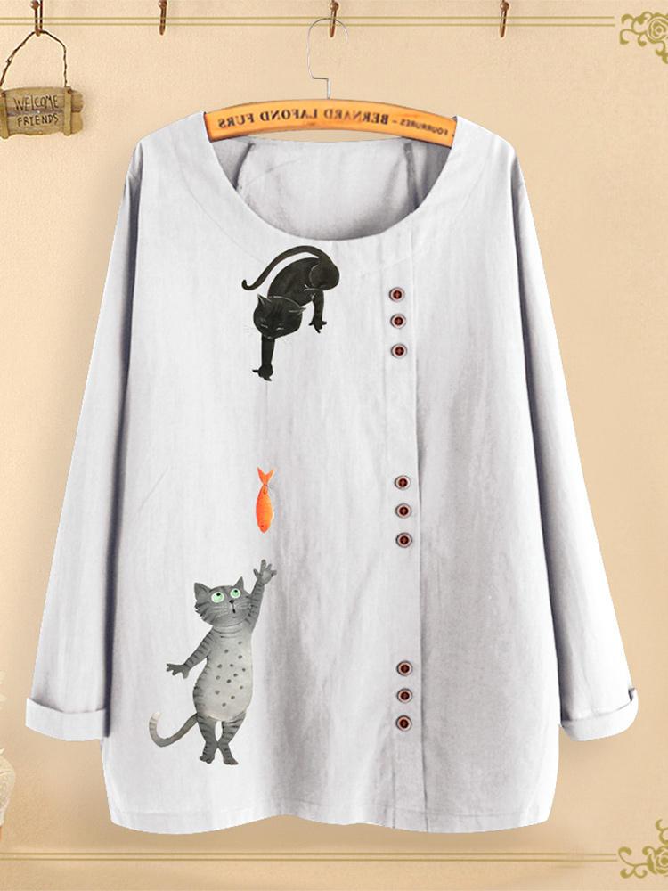 Button Cartoon Cat Print Long Sleeve Blouse For Women Cheap Newchic