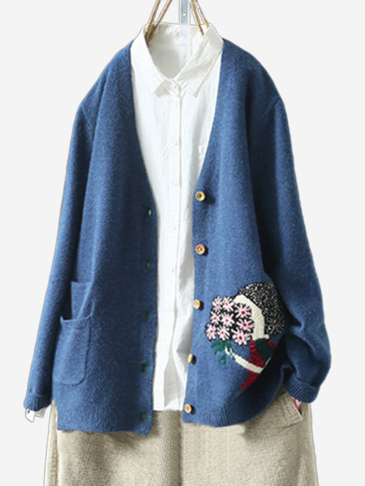 Vintage Embroidery Long Sleeve Cardigan For Women