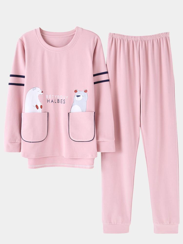 Plus Size Cute Bear Print Pajamas Long Sets Cartoon Long Sleeves Cotton Sleepwear For Winter Spring