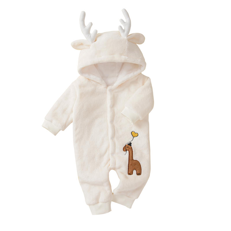 Baby Elk Hooded Thicken Warm Long Sleeves Casual Rompers For 0-24M
