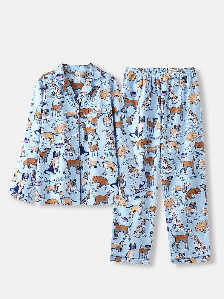 Women Cotton Pajamas Long Sets Dogs Print Animal Sleepwear For Spring