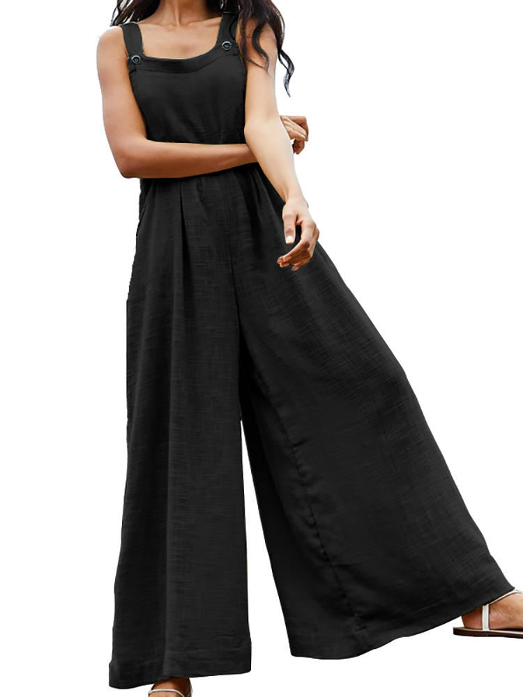 Casual Solid Color Flared Wide Leg Overall Jumpsuits