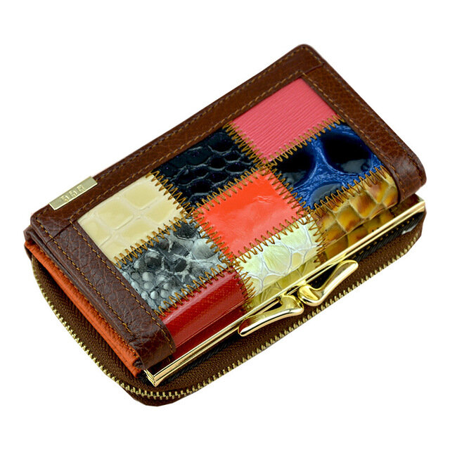 Stitched Leather Wallet Short Ladies Wallet Large Capacity Coin Purse (SKUD10702) photo