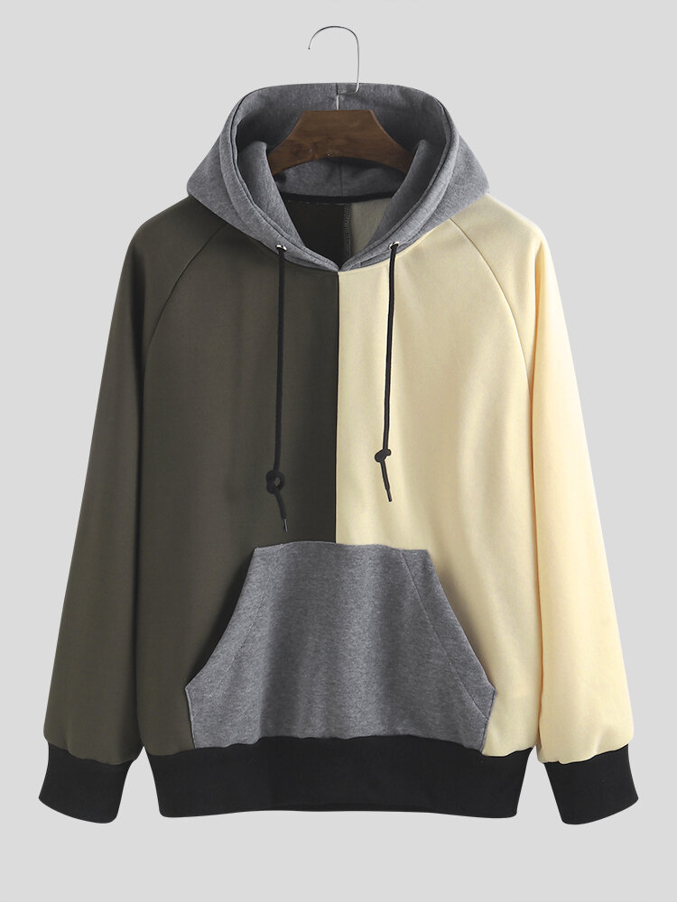 Mens Patchwork Contrast Color Muff Pocket Drawstring Hoodies