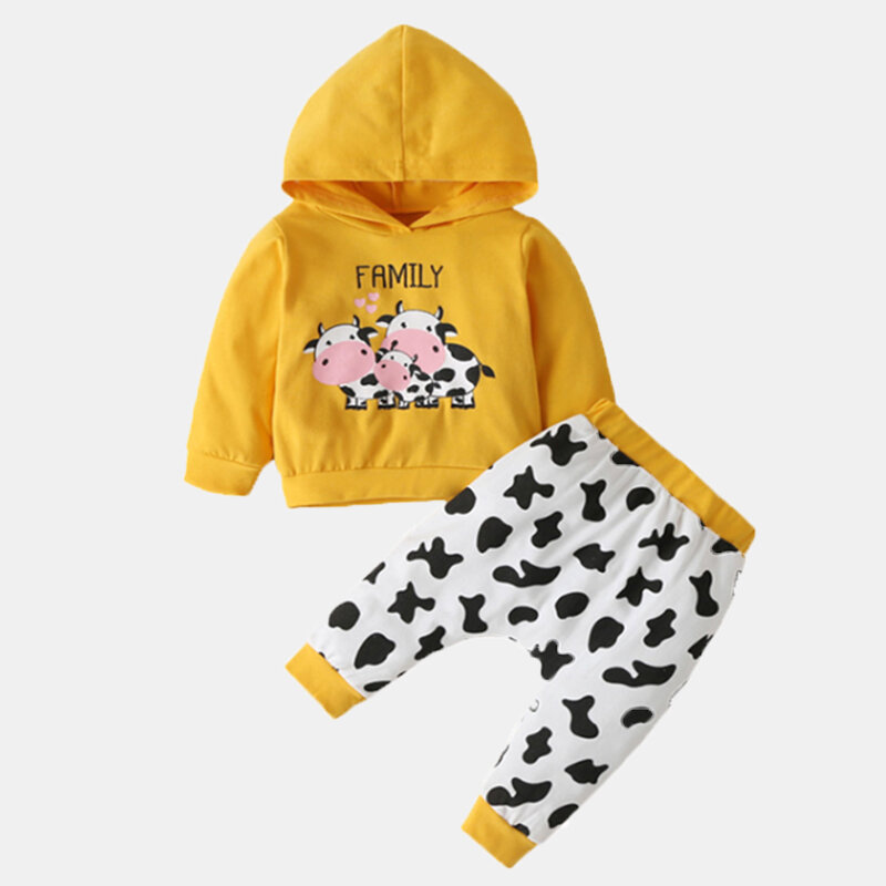 Baby Cow Cartoon Print Long Sleeves Casual Clothing Set For 0-24M