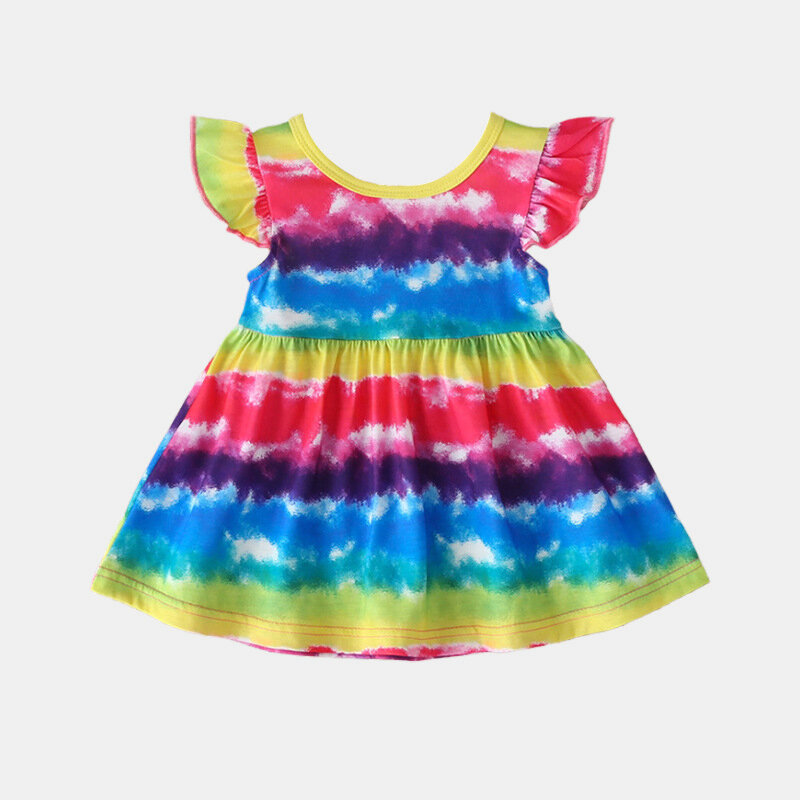 Girl's Colorful Rainbow Striped Print Flying Sleeves Casual Dress For 1-7Y