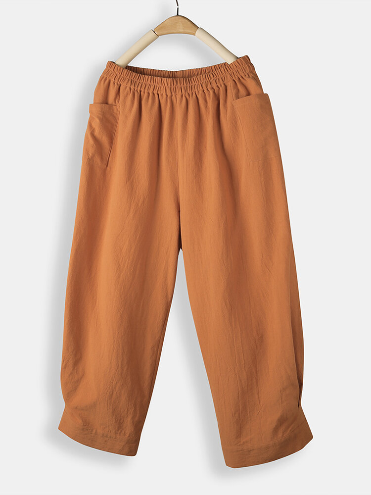 Casual Solid Color Elastic Waist Loose Pants With Pocket