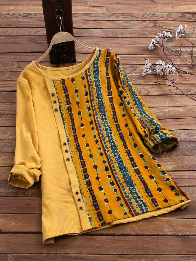 Vintage Corduroy Ethnic Print Patchwork Long Sleeve Blouse