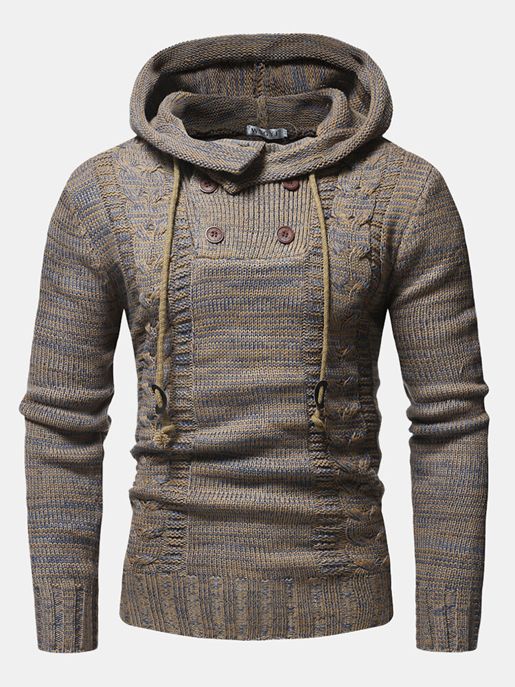 Mens Ethnic Printing Double Breasted Knitting Warm Long Sleeve Hooded Sweaters