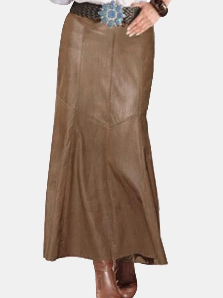 Unifarbener PU-Lederrock mit hoher Taille für Damen