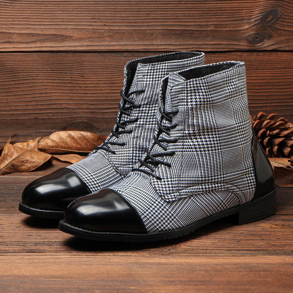 الرجال البريطاني أنيق كاب تو قماش الربط الرباط حتى أحذية عادية