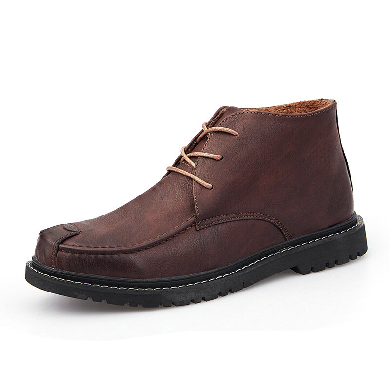 Men Classic Microfiber Leather Warm Plush Lining Slip Resistant Casual Ankle Boots