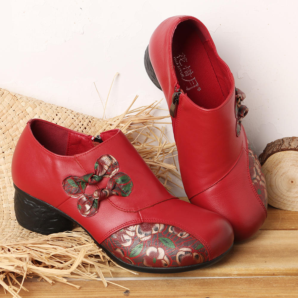 Genuine Leather Splicing Round Toe Side Zipper Chunky Heel Casual Pumps