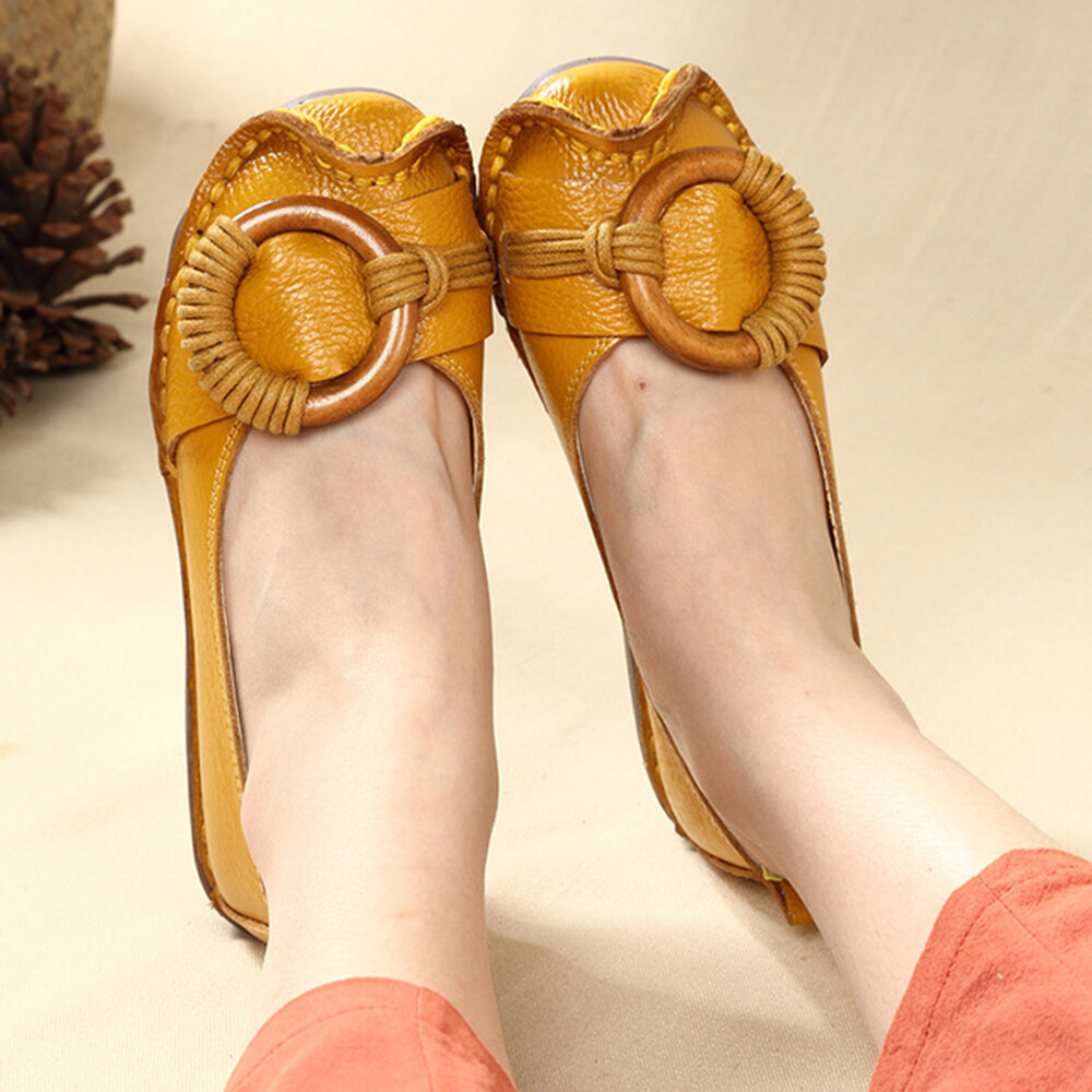 Soft Leather Pure Color Metal Casual Flat Shoes