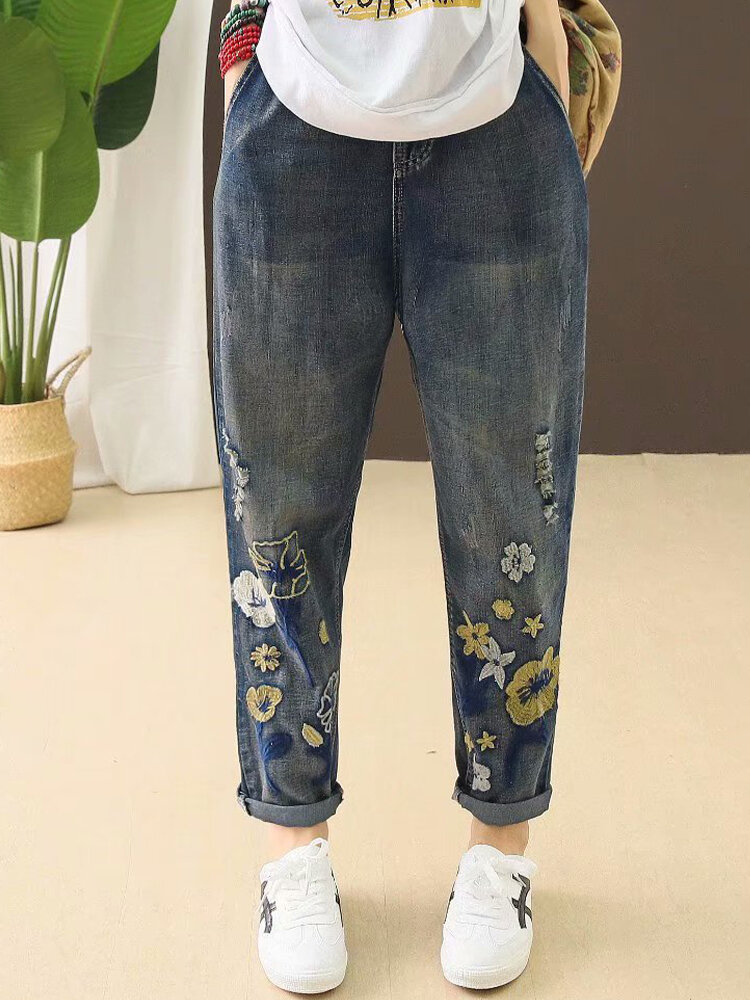 Ripped Drawstring Flower Embroidered Jeans For Women