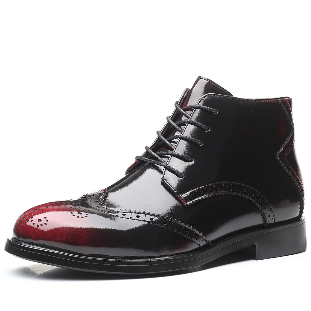 Men Retro Leather Non Slip Brogue Large Size Casual Ankle Boots