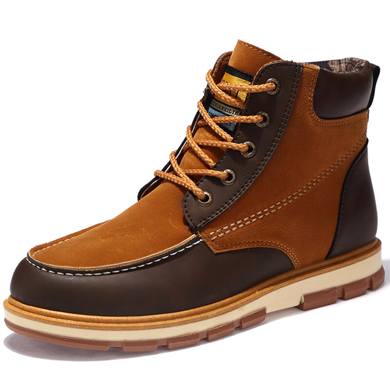 Men Microfiber Leather Splicing Non Slip Outdoor Casual Tooling Boots