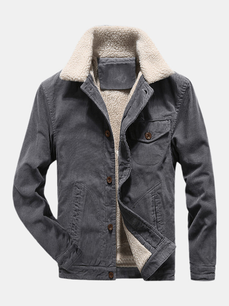 Mens Solid Color Windproof Plush Turn Down Collar Thicken Jackets