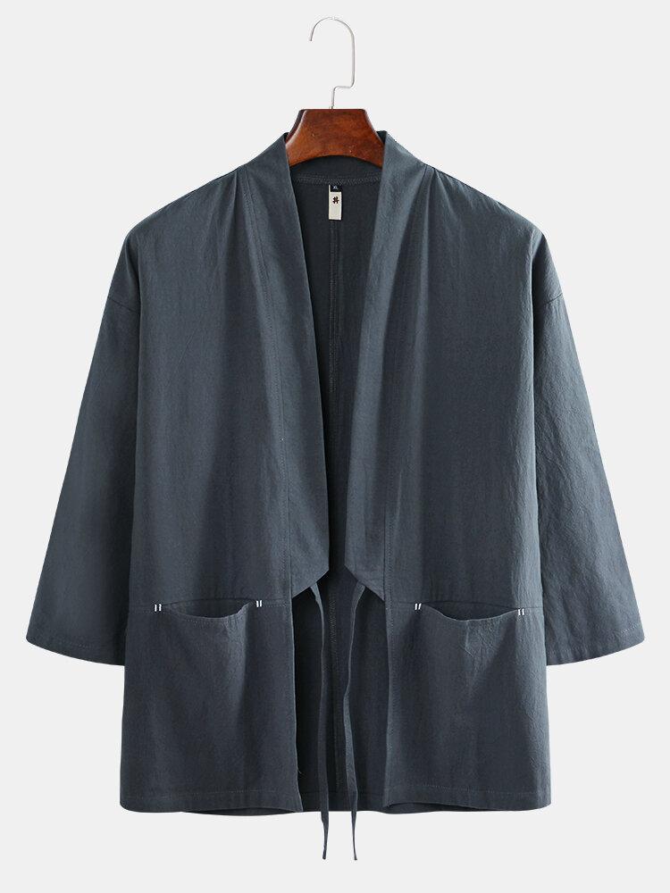 Мужское пальто в стиле ретро из льна с карманами из льна