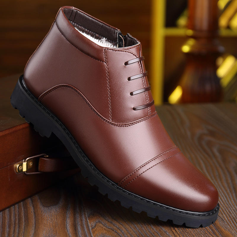 Men Cap Toe Warm Plush Lining Lace Up Business Leather Boots