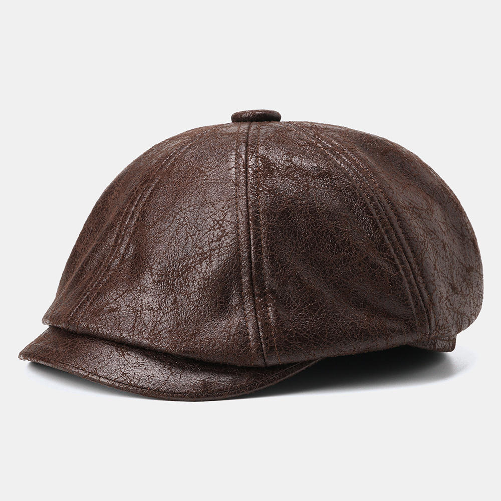 Cracked Leather Newsboy Cap Retro Beret Flat Cap