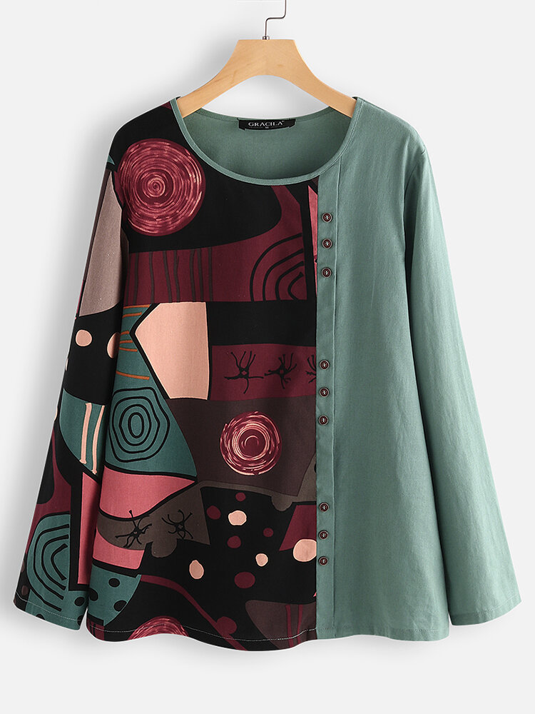 Button Ethnic Print Patchwork Long Sleeve Blouse For Women