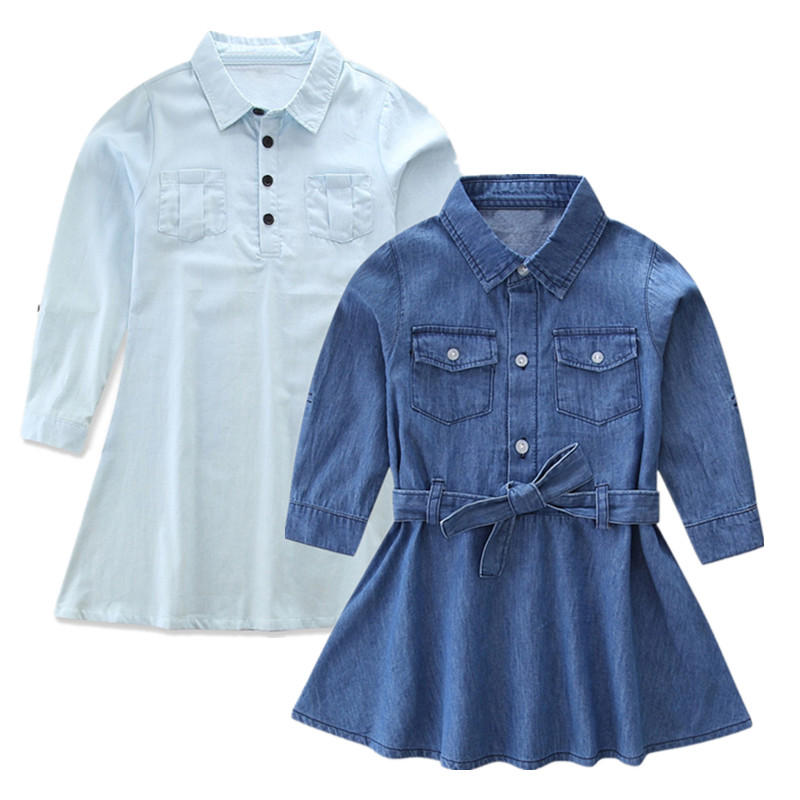 Mom and Me Matching Outfits Long Sleeved Denim Dress