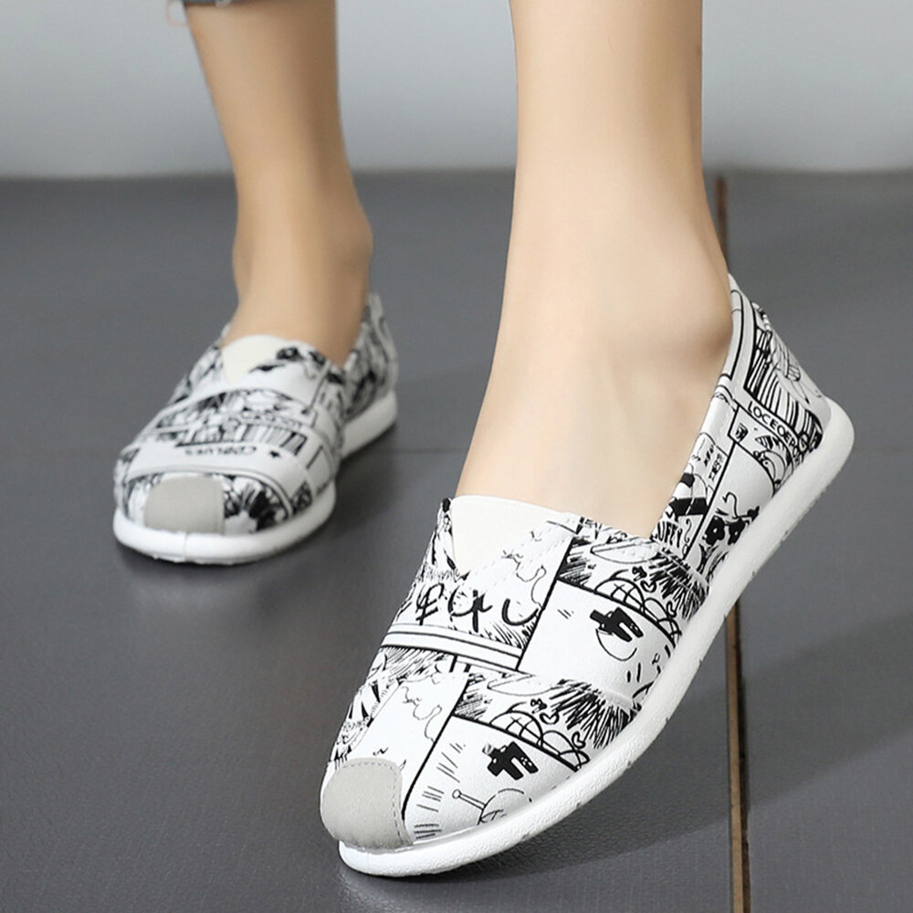 Women Canvas Pattern Casual Flat Shoes