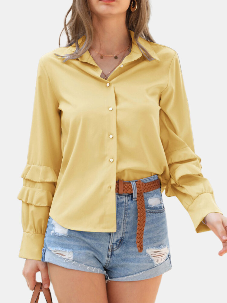 Solid Color Flouncing Long Sleeve Shirt For Women