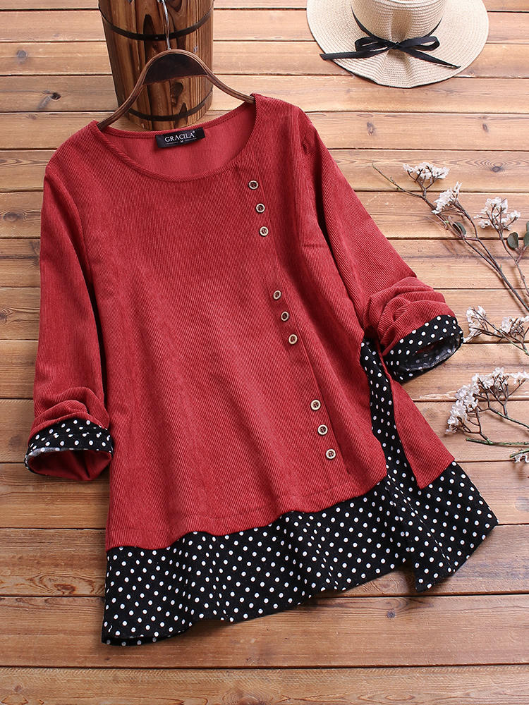 Corduroy Polka Dot Patchwork Long Sleeve Blouse For Women