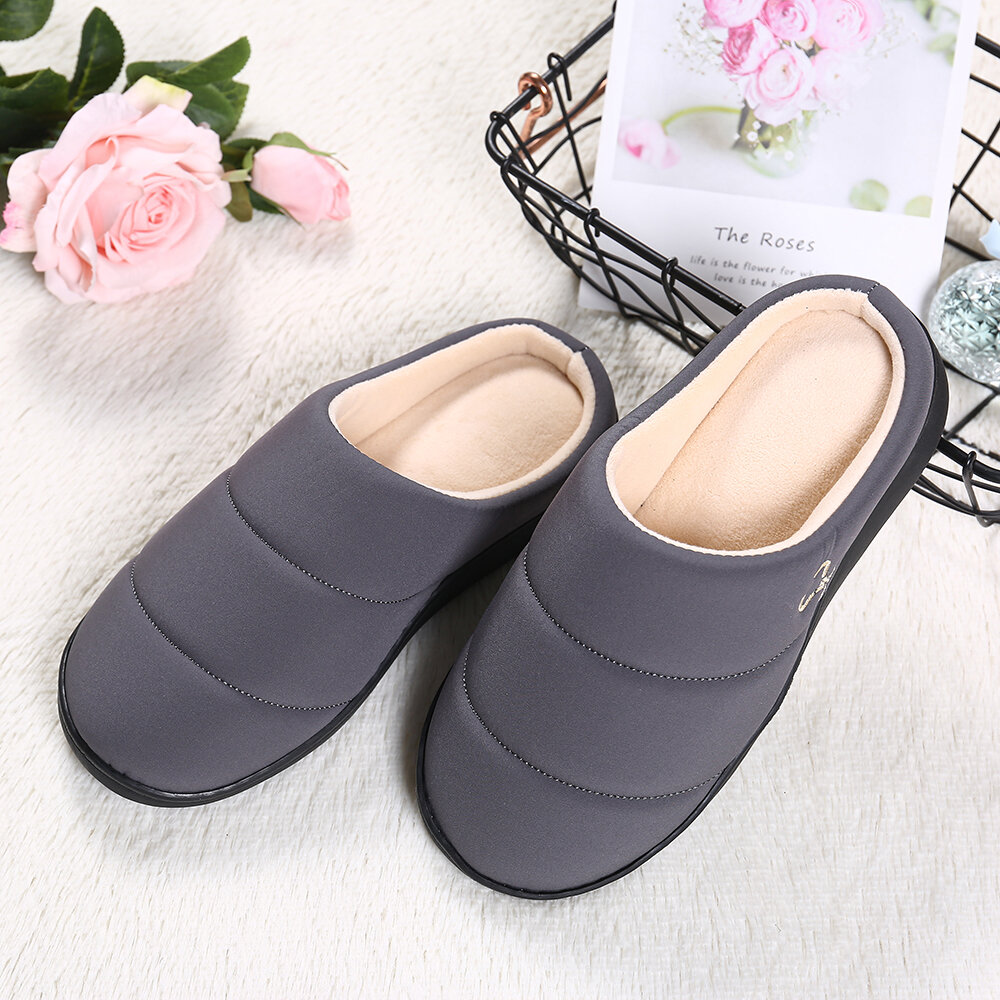 Women Waterproof Closed Toe Warm Lined Blackless Home Shoes