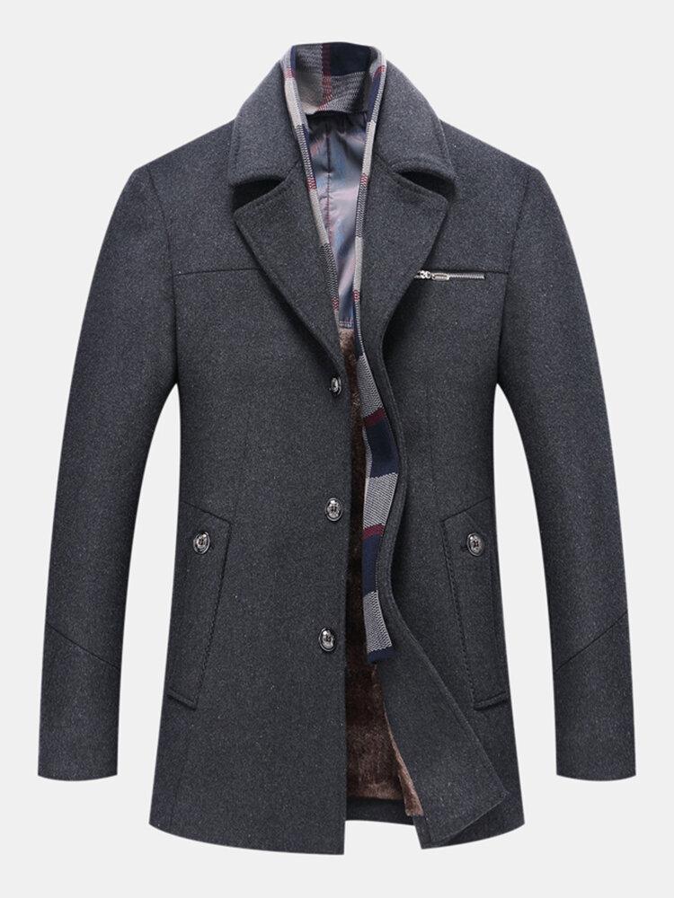 Capispalla lana invernale uomo foderato in pile ispessito caldi cappotti medio-lunghi con sciarpa