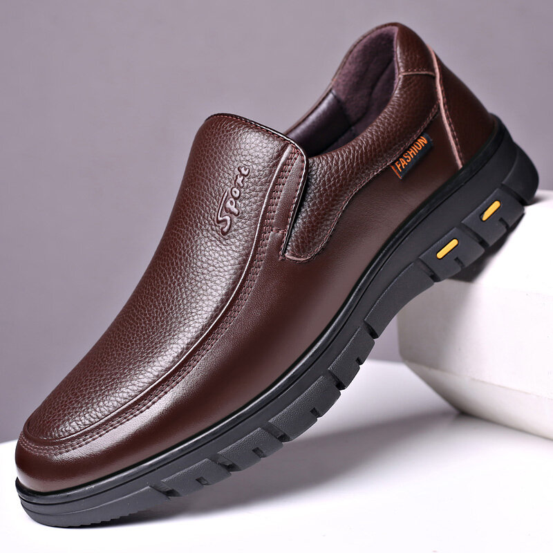 Men Genuine Leather Non Slip Slip-ons Soft Sole Casual Shoes
