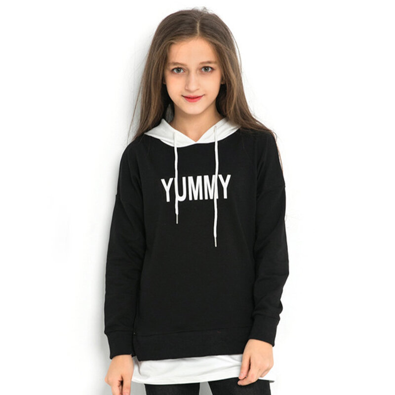 Girl's Sweater Hooded Letter Print Splicing Sweater For 6-15Y