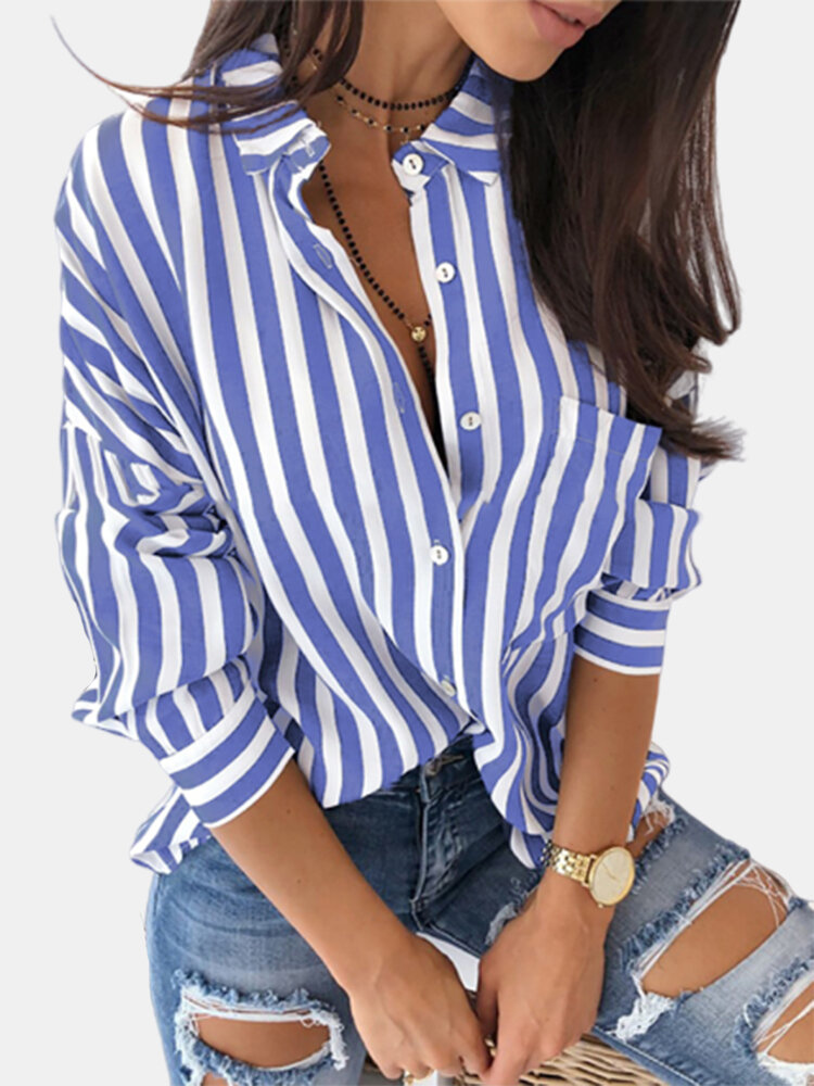 Striped Long Sleeve Casual Plus Size Shirt for Women