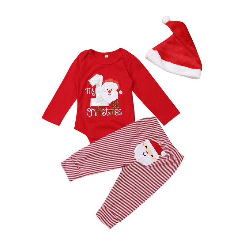 3Pcs Baby Christmas Striped Pants Long Sleeves Rompers Casual Set For 0-24M