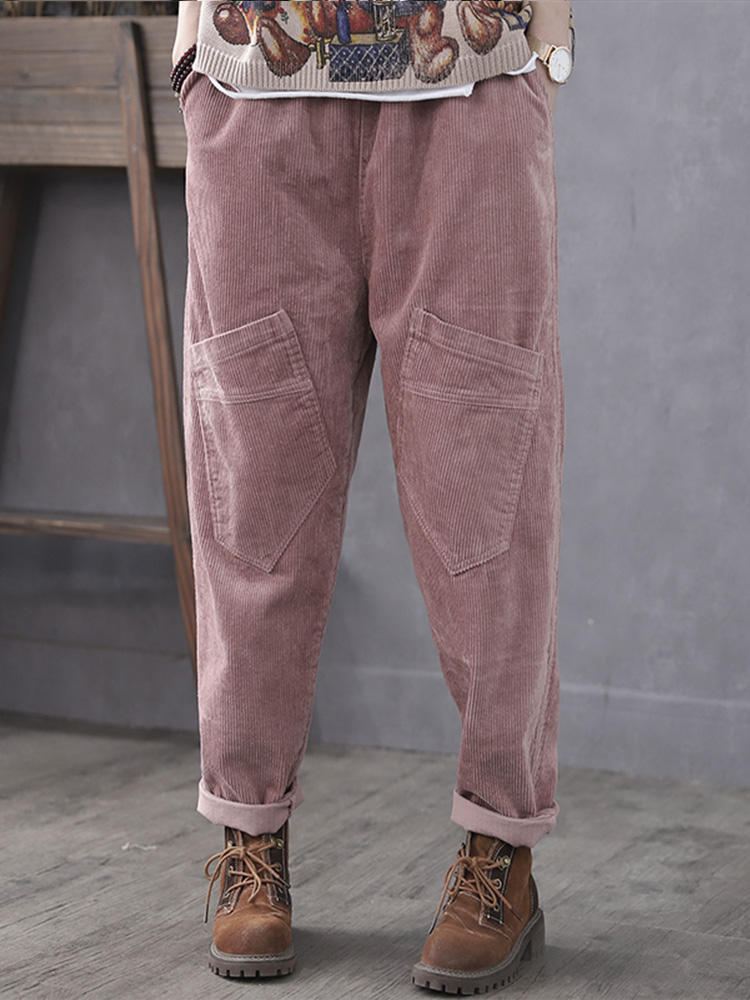 Corduroy Casual Elastic Waist Plus Size Pants with Pockets