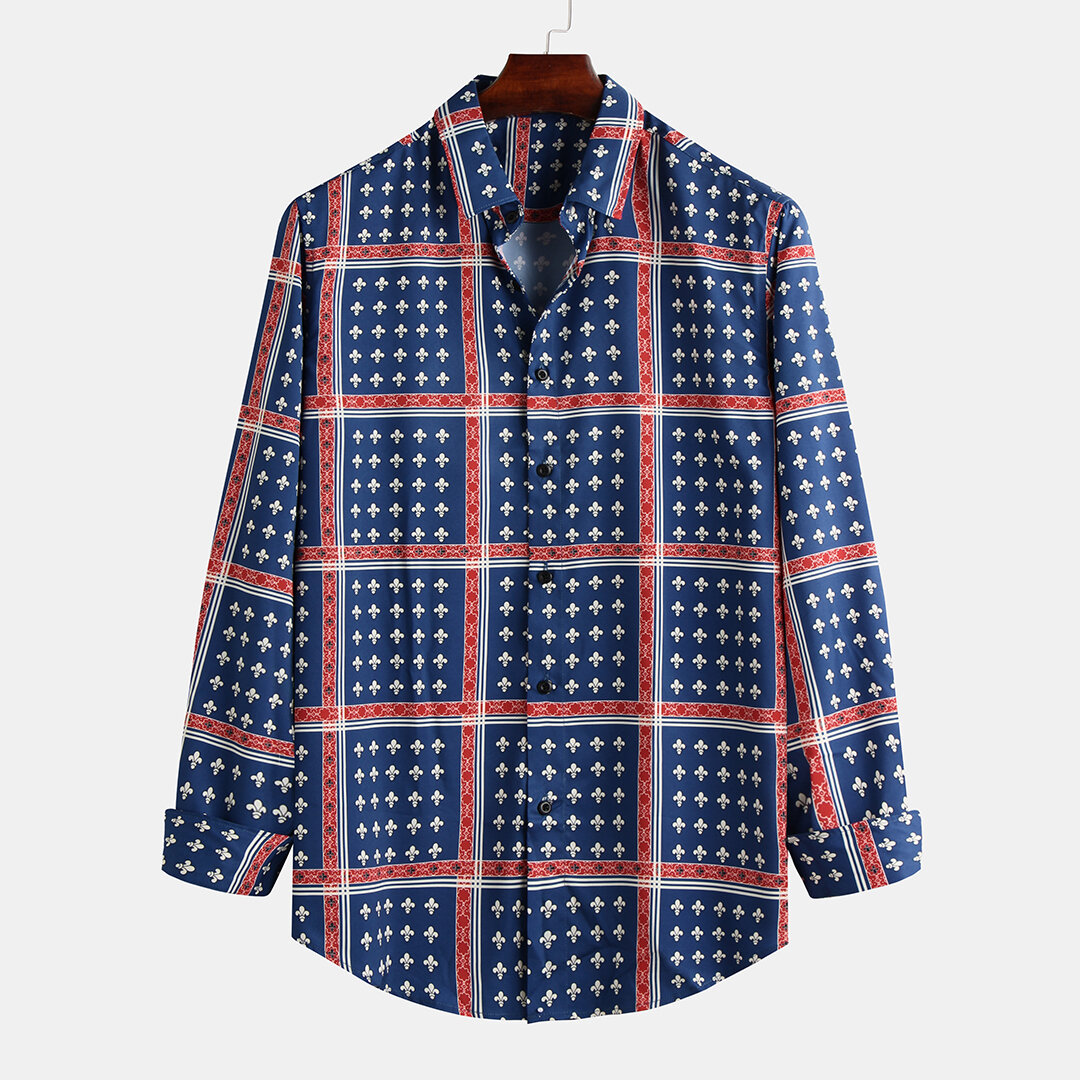 Mens_Ethnic_Style_Printed_Breathable_Casual_Long_Sleeve_Shirts