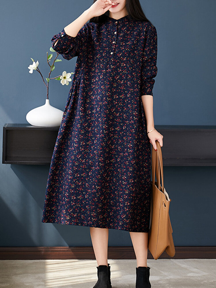 Stand Collar Long Sleeve Floral Print Vintage Dress For Women