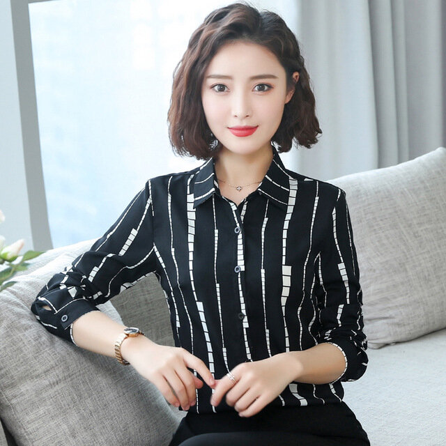 Long-sleeved Printed  Version Of The Self-cultivation Striped Business Wear Shirt 41262